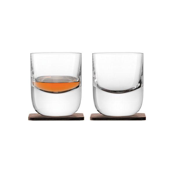 LSA Whisky Renfrew Tumbler 270ml Clear With Walnut Coaster Set Of 2