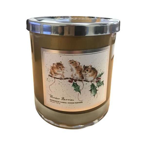 Wrendale Designs Winter Berries Glass Candle With Lid