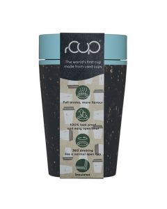rCUP 8oz Black and Teal Recycled Coffee Cup
