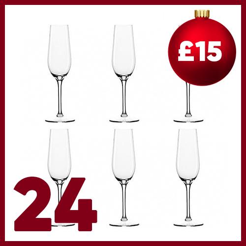 Twenty Fourth advent window - Dartington Crystal Set of 6 Champagne Flutes
