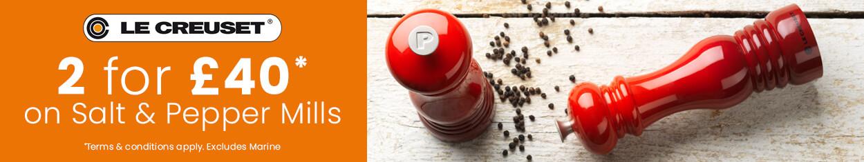 Le Creuset Salt & Pepper Mills - 2 For £40