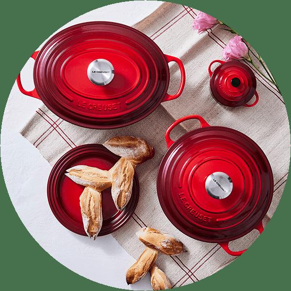 Le Creuset Cerise Cast Iron Casseroles