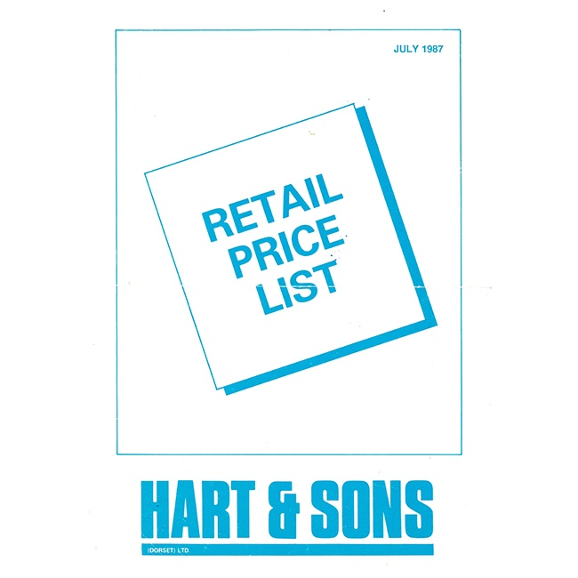 Harts Retail Price List 1987
